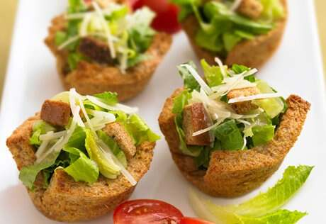 Caesar Salad in Toast Cups