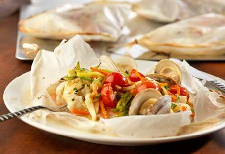 Flounder with Clams en Papillote