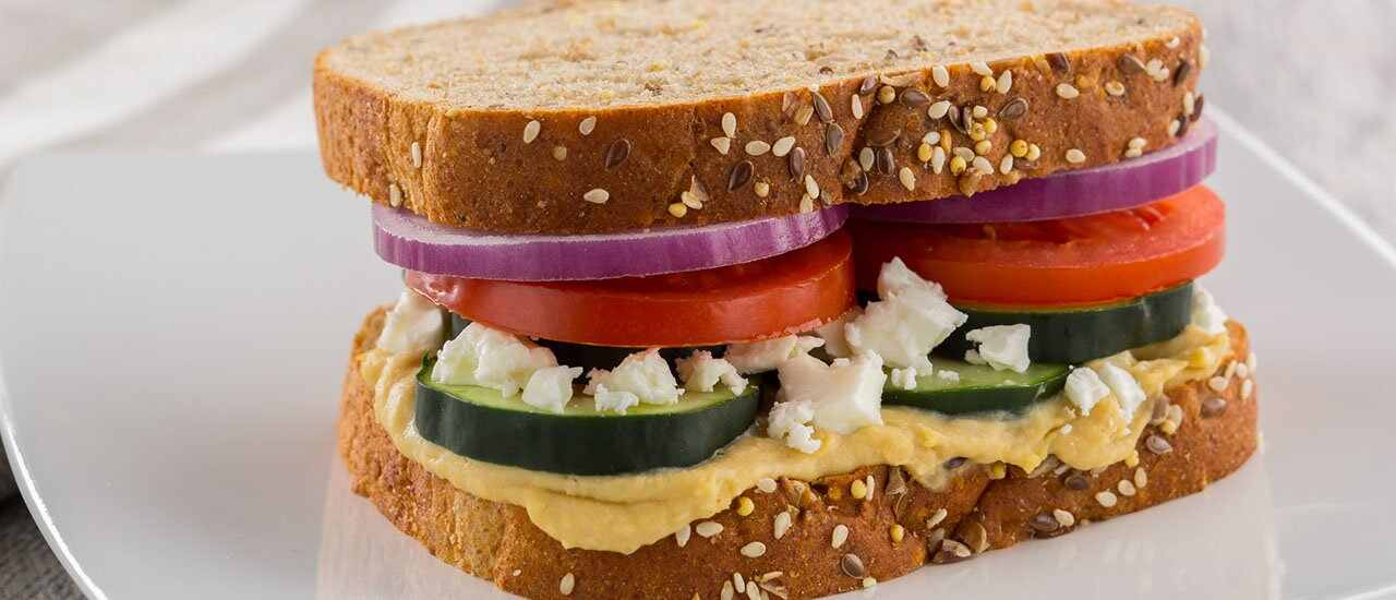 Greek Salad & Hummus Sandwich