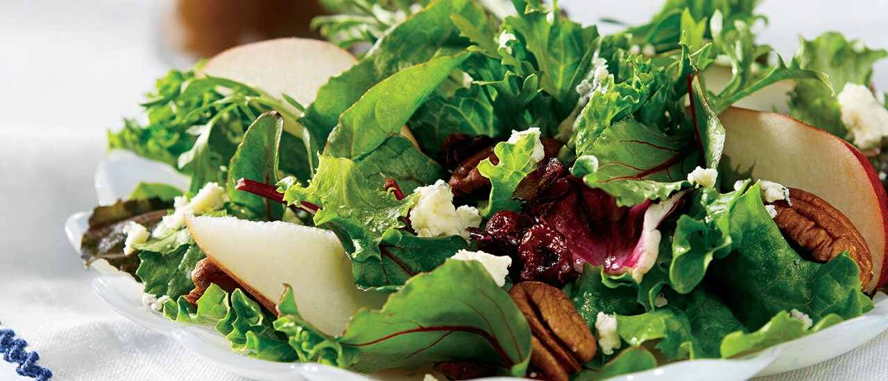 Mixed Greens and Fruit Salad with Warm Onion Vinaigrette