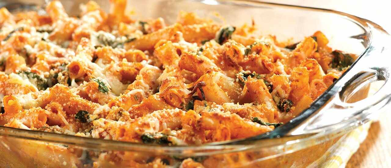 Three-Cheese Baked Ziti with Spinach