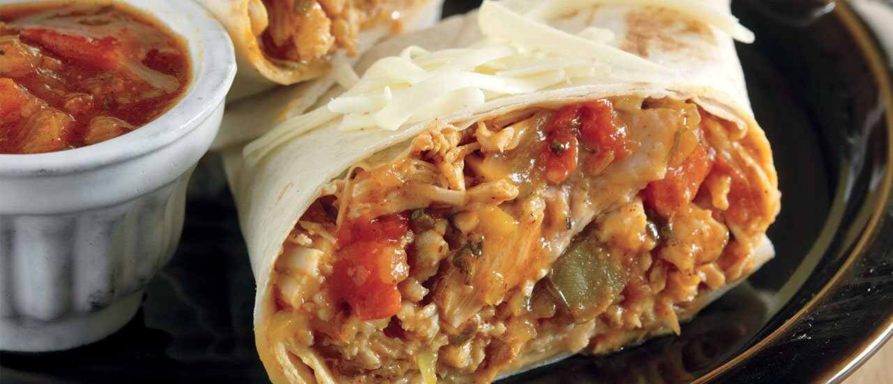 Slow Cooked Shredded Pork Burritos with Green Chile Sauce