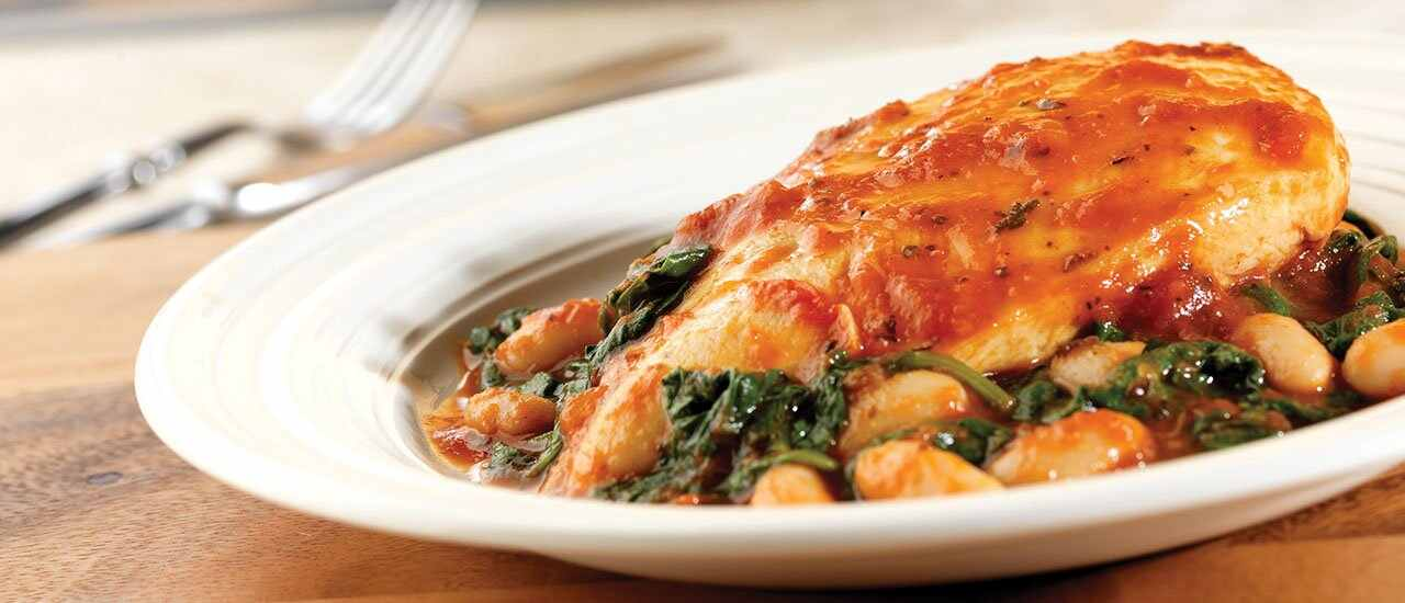 Braised Chicken with Savory White Beans & Spinach