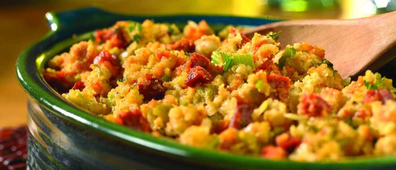 Cornbread Stuffing with Chorizo & Chiles