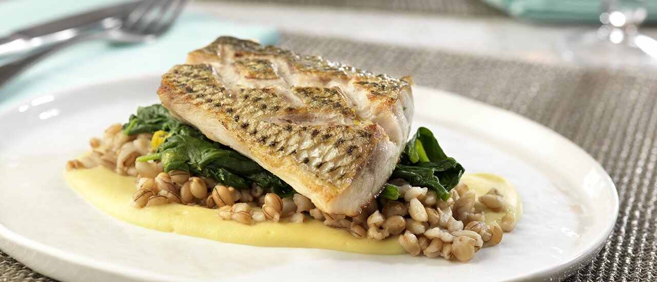 Striped Bass with Sautéed Spinach and Parsnip-Celery Puree