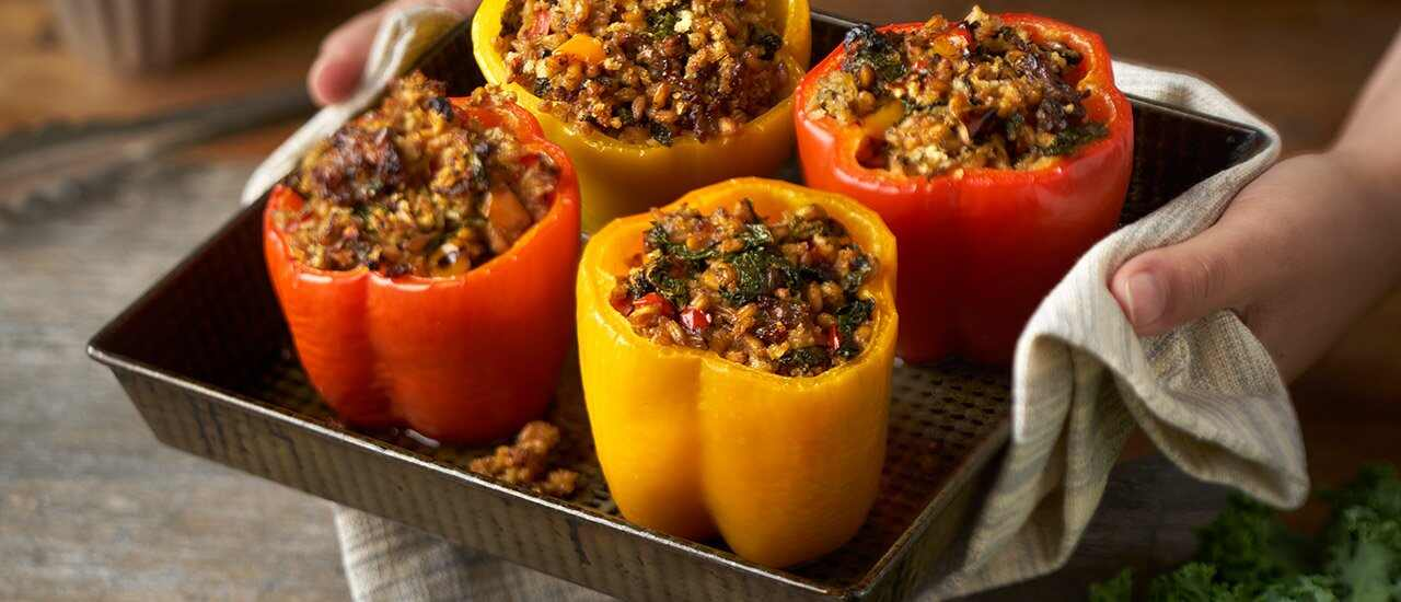 Stuffed Peppers with Kale & Farro